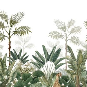 Mural jungle white and green 158951