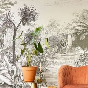 AMBIENTE MURAL GIRAFFE INTO THE WILD GREY 300621