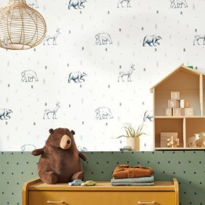 AMBIENTE PAPEL PINTADO GRIZZLY BEARS AZUL OUP 101987403