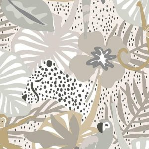 PAPEL PINTADO TROPICAL INFANTIL COLOR BEIGE