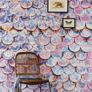 Mural scallop wall antique 375210