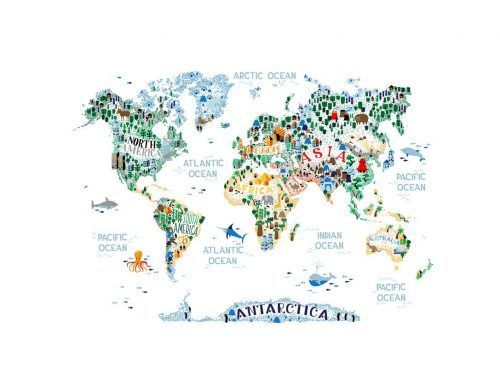 Mural Cutest World Map Ever P270505-8